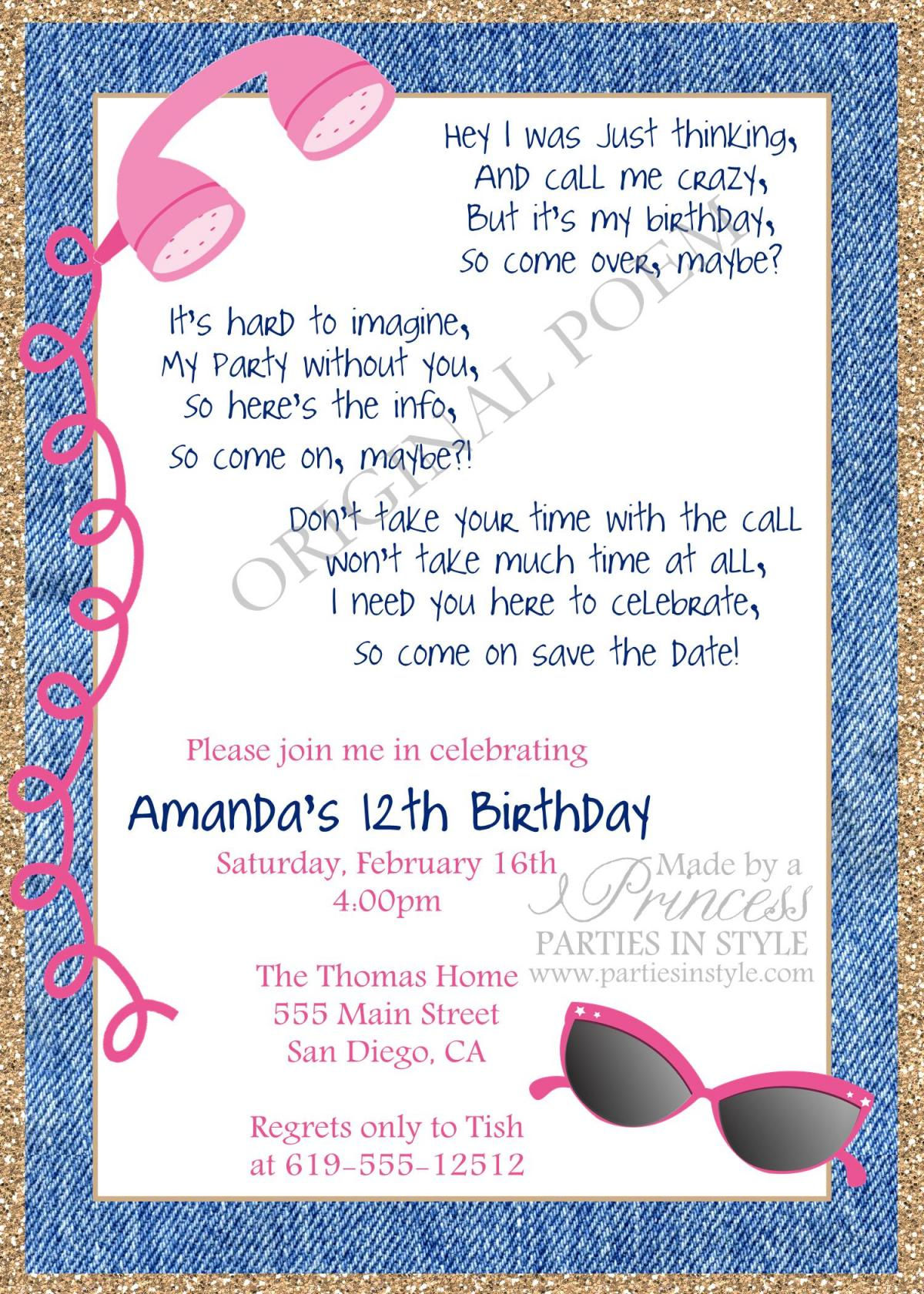 Call Me Maybe Printable Birthday Invitation - DIY - Teen Tween on Luulla