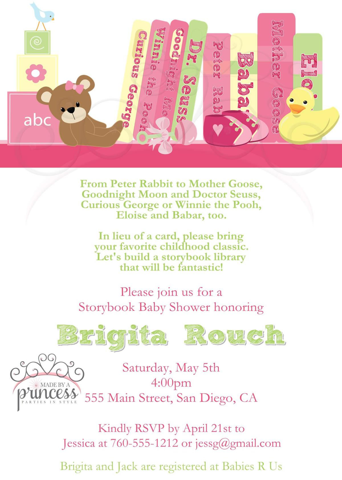 Baby Shower Invitation - Build A Library Pink - Printable DIY on Luulla
