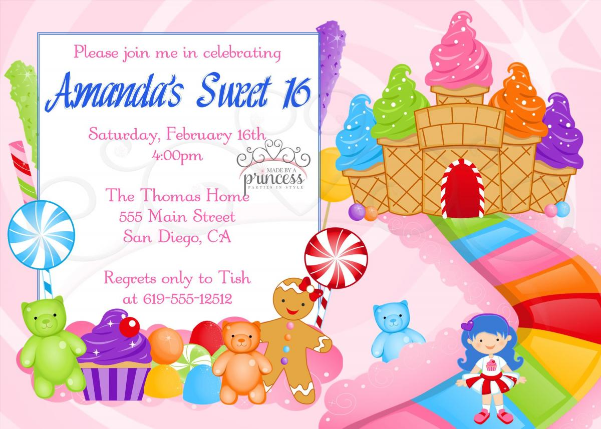 Birthday Invitation Sweet 16 Candy Candyland Printable DIY on Luulla