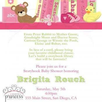 Baby Shower Invitation - Build a Library Pink - Printable DIY